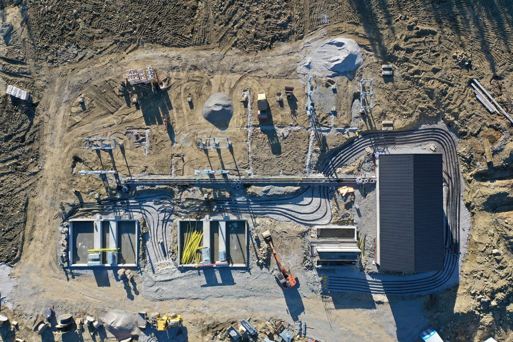Drone shot of the cable routing into the substation building
